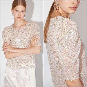 Zara Short Puff Sleeve Sequin Top Cream Blouse M